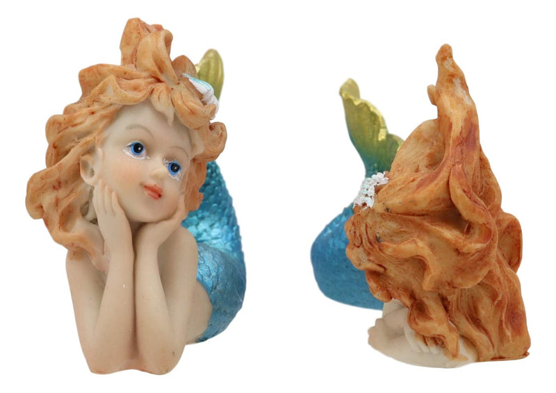 "Ebros 4.25"" Wide Colorful Nautical Ocean Mermaid Mergirls Under The Sea Miniature Figurines Set of 2 Fantasy Mermaids Sirens of The Seas Figurines Fairy Garden Collectibles - Ebros Gift"