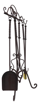 Wrought Iron Metal Western Galloping Equine Horse Fireplace Tool Kit 5 Piece Set