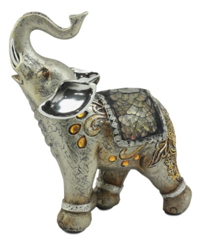 """Resin Bejeweled Mosaic Feng Shui Elephant With Trunk Up Statue Set of 2 6/""""H"""
