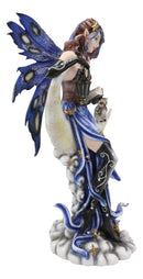 "Fairy With Book Lantern And Owl On Crescent Moon Clouds and Stars Statue 14"" H"