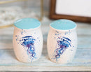 Nautical Blue Sea Jellyfish Splashing Bubbles Ceramic Salt Pepper Shakers Set