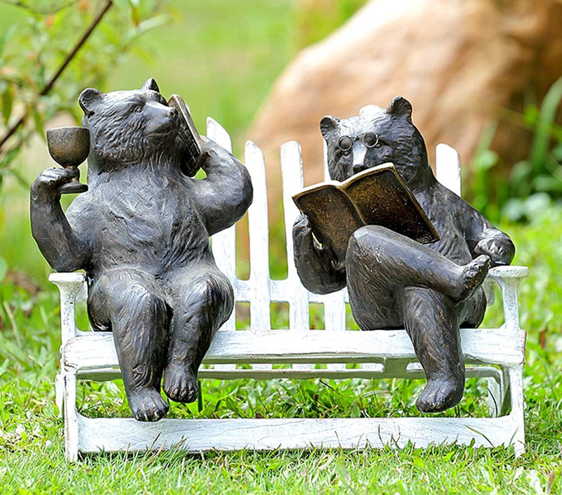 "Ebros 15"" Long Aluminum Whimsical Modern Grizzly Bear Wife Gossiping On Cell Phone with Wine and Husband Reading Book On Rustic Bench Garden Statue Cabin Lodge Forest Bears Couple Decor Figurine - Ebros Gift"