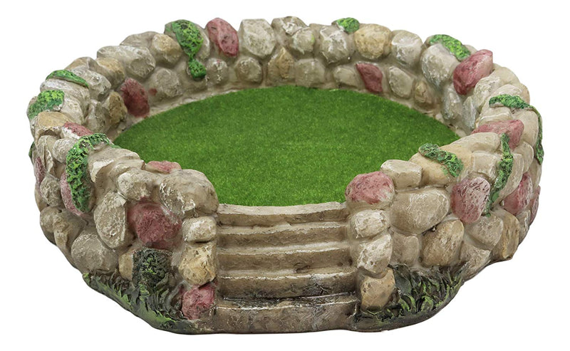 "Ebros Fairy Garden Village Nook Stone Walls Planter with Steps for Miniature Figurines 12.25"" Wide DIY Statue (Stone Walls Planter Landscape With Steps Display)"