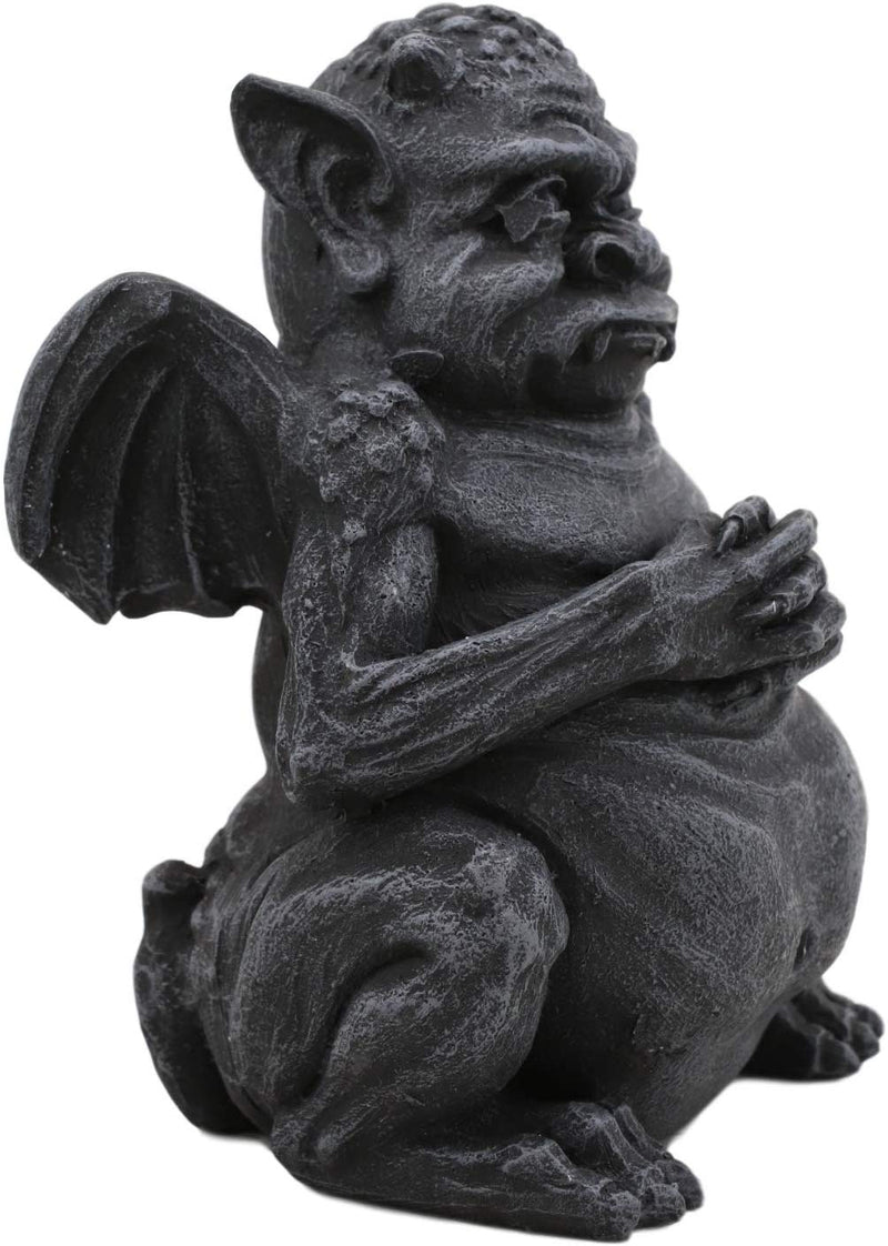 "Ebros Winged Fat Ogre Troll Gargoyle Statue 4"" High Gargoyles Collectible"