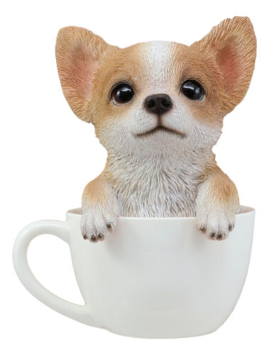 "Realistic Tan Chihuahua Dog in Teacup Statue 5.75""H Pet Pal Chihuahuas Decor"