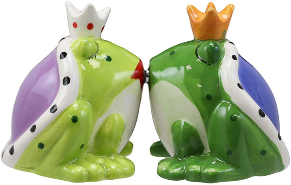 Ebros Frog Prince And Princess Kissing Ceramic Magnetic Salt And Pepper Shakers
