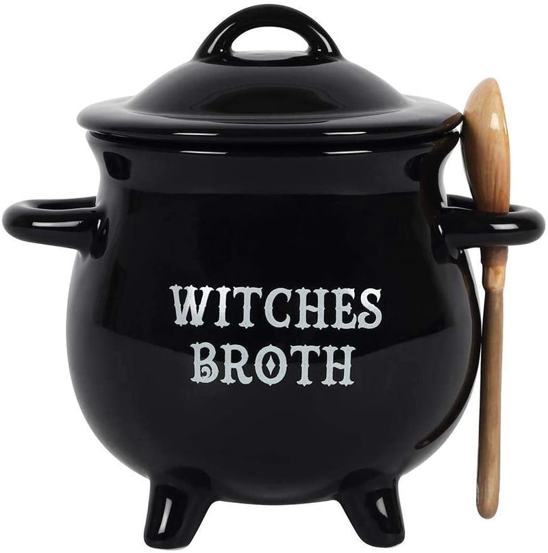 Witches Broth Cauldron Ceramic Bowl with Broom Spoon