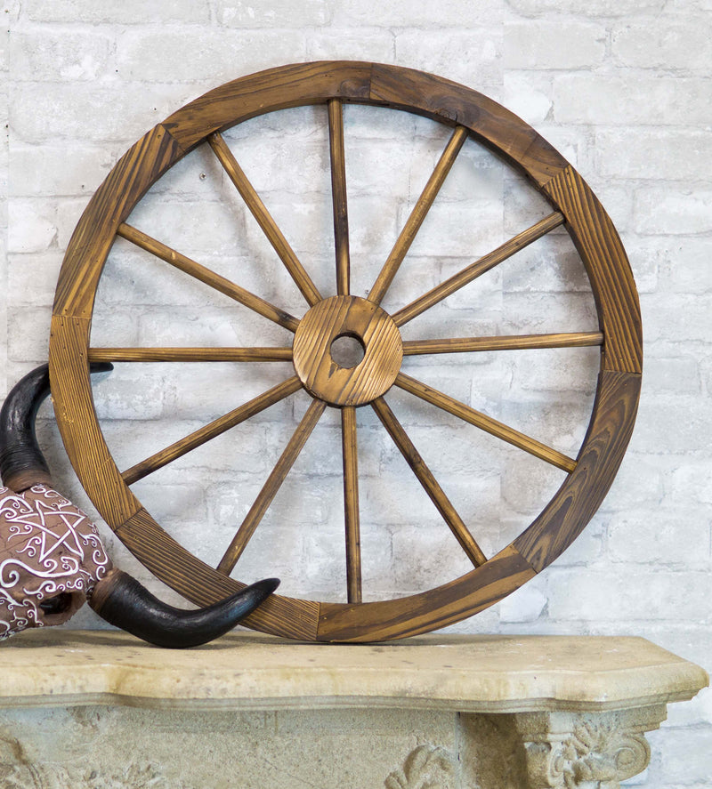 "Oversized 31"" Vintage Rustic Round Wood Cartwheel Wagon Wheel Wall Decor Plaque"