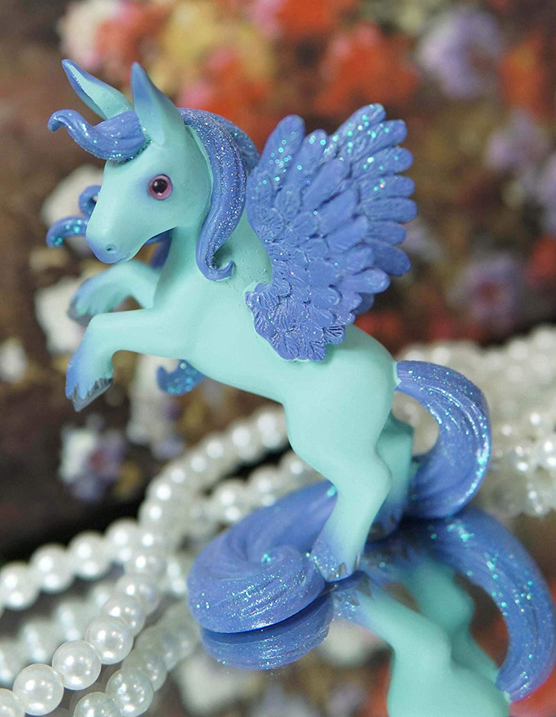 Ebros Fantasy Fairy Tale Pegasus Horse Figurine Shelf Decor (Turquoise Aries)