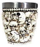 Novelty Ossuary Graveyard Piled Up Skulls And Spine Bones Shot Glass Set of 2