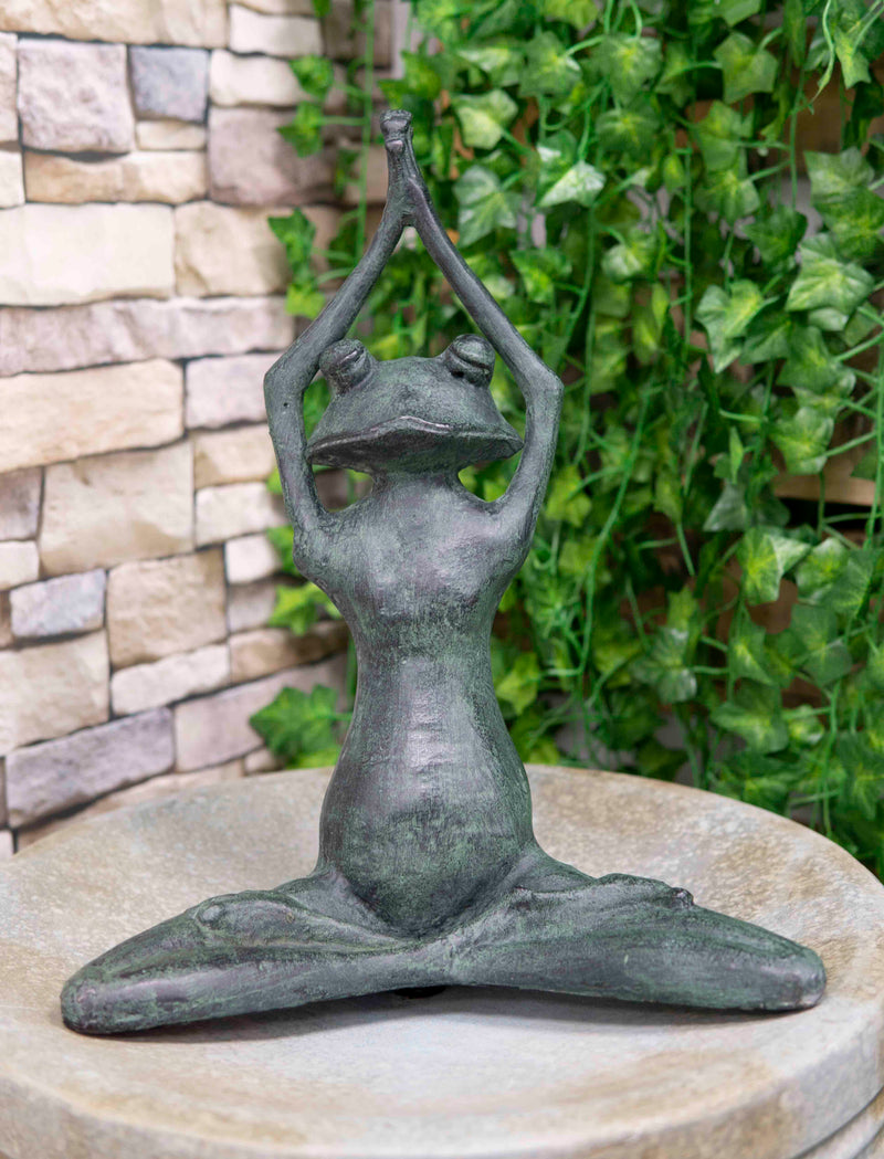 "Large 16.5""H Aluminum Meditating Yoga Frog Toad Garden Patio Outdoor Statue"