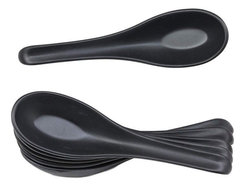 Ebros Contemporary Matte Black Melamine Soup Spoons Pack Of 6 Set Ramen Noodles Eating Spoon For Kitchen And Dining Asian Japanese Chinese Cuisine Restaurant Supply Grade Dishwasher Safe 1 oz Capacity