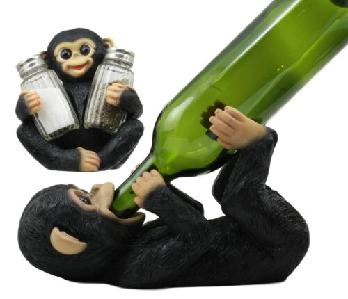 Ebros Rainforest Jungle Caesar Monkey Baby Chimpanzee Wine Holder and Salt Pepper Shakers Figurine Set Chimp Chugger Hugger Forest Wildlife Decor