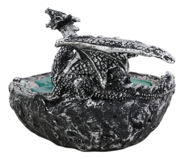 Ebros Crouching Dragon Guarding Turquoise Pool Quartz Crystal Quarry  Cigarette Ashtray Figurine Dungeons and Dragons Medieval Renaissance Decor