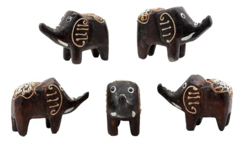 "Balinese Wood Handicrafts Carved Jungle Elephant Miniature Figurines Set 2.5""L"