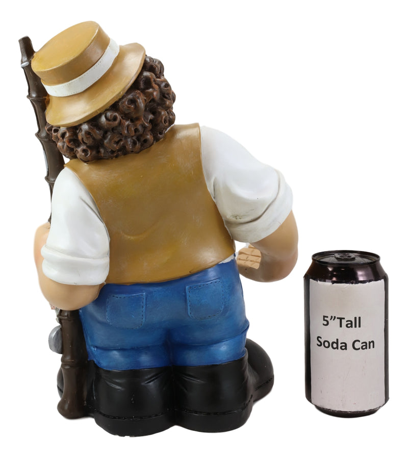 Large Favorite Pastime Fisherman with Fishing Rod and Bass Fishes Wine Holder