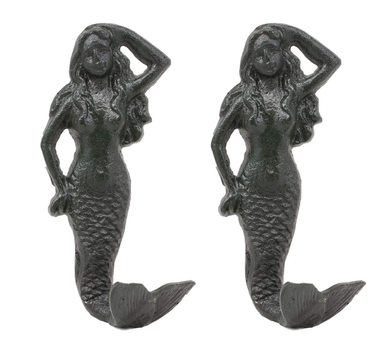 "Ebros Gift 6""H Mermaid Cast Iron Rustic Wall Coat Hook For Keys Leashes Hats (2)"