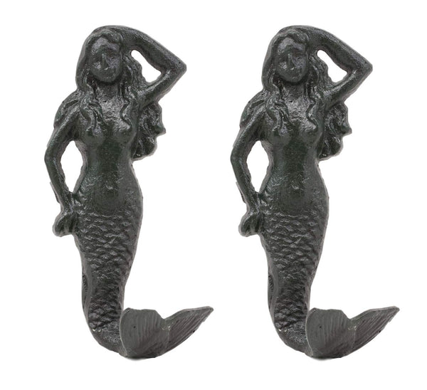 "Ebros Gift 6""H Nautical Siren Mermaid Cast Iron Rustic Black Vintage Finish Wall Coat Hook Ocean Goddess Princess Coastal Beach Under The Sea Mermaids Decorative Accent Hooks For Keys Leashes Hats (2)"