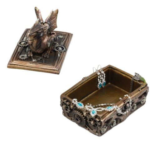 "Ebros Bronzed Steampunk Cyborg Dragon Jewelry Box Figurine 5.5"" L Robotic Serpentine Roaring Dragon Decorative Statue"