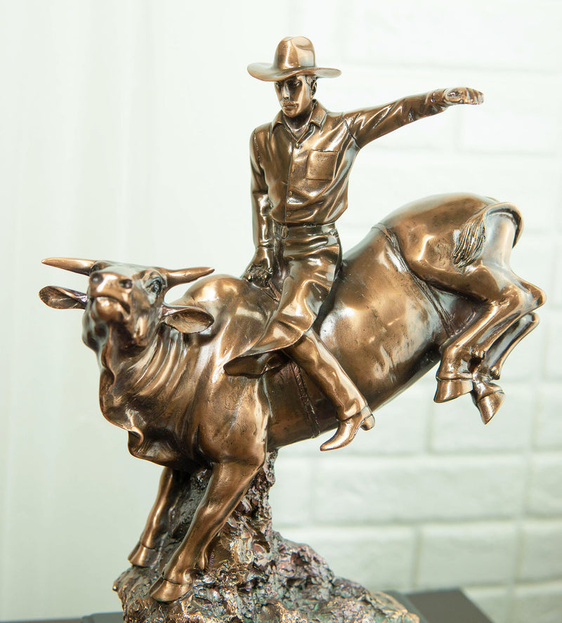 Wild Western Rodeo Cowboy With Bucking Bull Bronze Electroplated Statue