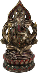 "Ebros 8"" Tall Hindu Elephant God Ganesha Sitting On Giant Lotus Throne Figurine"