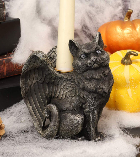 Ebros Gothic Angel Winged Catgoyle Cat Gargoyle Candle Holder Statue Medieval Renaissance Notre Dame Fantasy Gargoyles Angelic Feline Cats Sculpture Halloween Home Decor (Right Facing)
