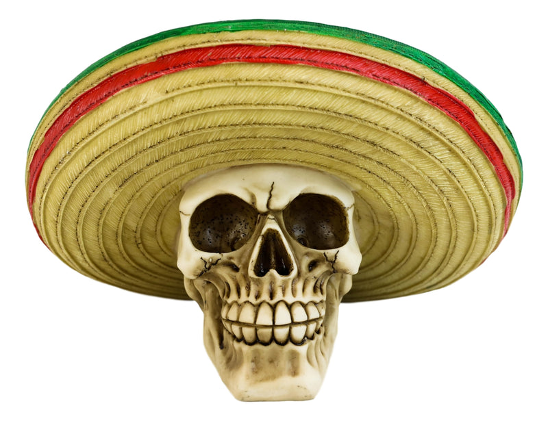 Day Of The Dead El Bandito Outlaw Skeleton Skull With Mexican Sombrero Figurine