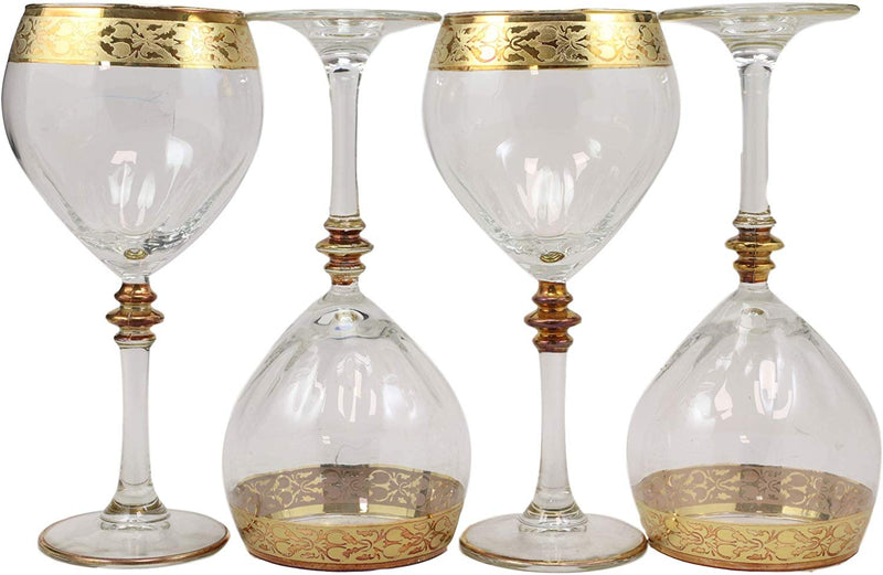 Ebros 16K Gold Accented Rim Floral Lace Vines Crystal Wine Glass Goblet Set of 4