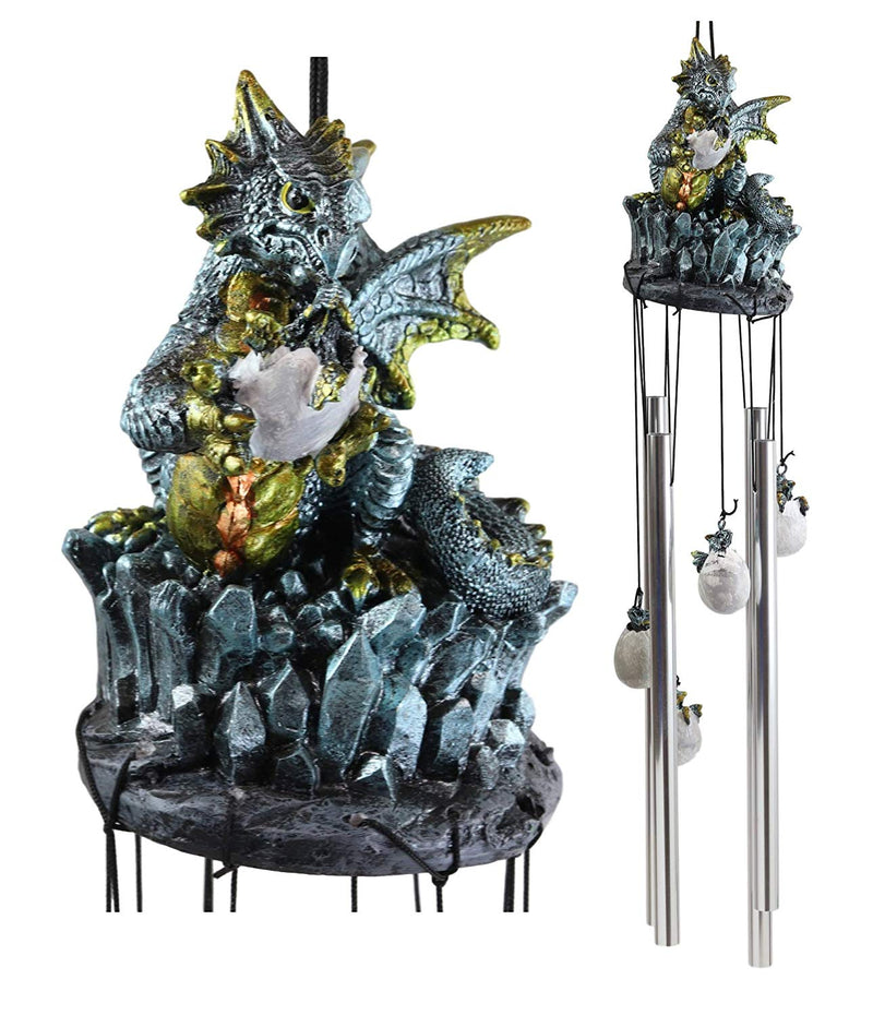 Ebros Gift Medieval Blue Dragon Egg Hatchling Standing On Crystal Rocks Figurine Crown Top Resonant Wind Chime with Miniature Wyrmlings Ornaments for Garden Patio Home Fantasy Dungeons and Dragons