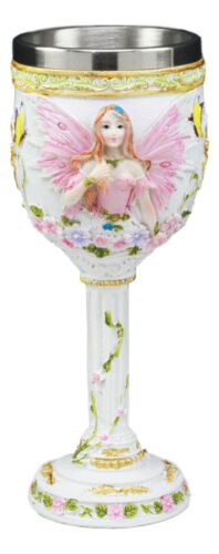 Ebros Holy Matrimony Blue And Pink Butterfly Bridal Floral Fairy Wine Goblet 7oz