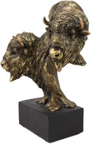 "Ebros Gift 9"" Tall Wild Bison and Calf Head Bust Figurine with Black Pedestal"
