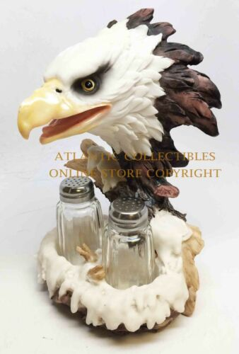 BALD EAGLE AND NEST SALT PEPPER SHAKERS HOLDER FIGURINE STATUE - Atlantic Collectibles
