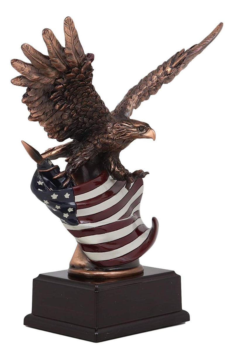 "Ebros Wings of Glory Bald Eagle with Spread Out Wings Clutching On American Flag Statue 9.75"" Tall Bronze Electroplated Resin Wildlife Eagles Figurine with Base"