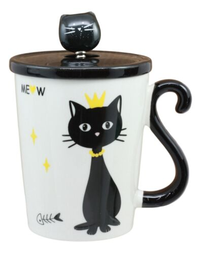 Witchy Black Cat With Golden Crown Ceramic Coffee Tea Mug Cup With Spoon And Lid