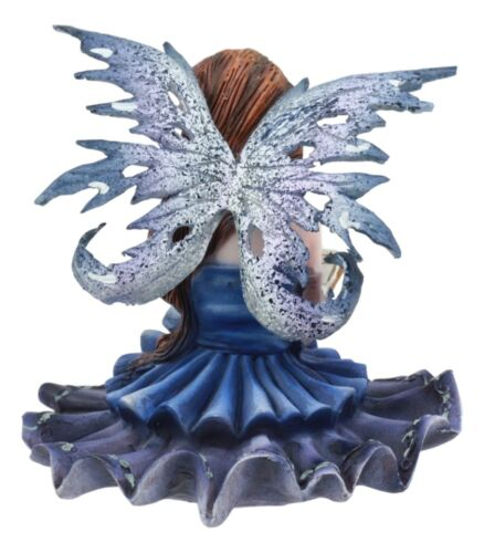 "Ebros Blue Bookworm Fairy Shelf Sitter Figurine 4"" Tall Whimsical Fantasy Faerie"