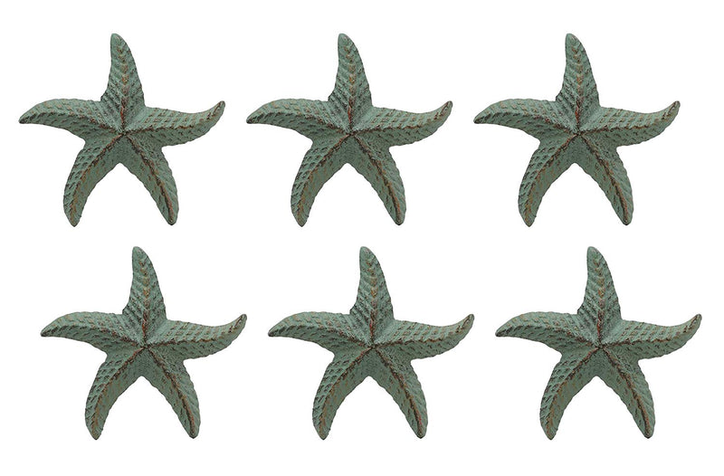 "Ebros Cast Iron Ocean Coral Sea Star Shell Starfish Decorative Accent Statue in Rustic Green Verdigris 3.75"" Wide Nautical Coastal Themed Decor for Wedding Beach Party Home Decorations DIY Crafts (6)"