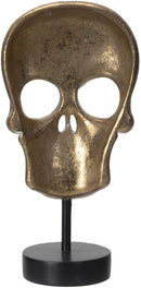 "Ebros Day of The Dead Engraved Golden Resin Skull Front with Base and Stand 11""H"