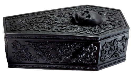 Day of The Dead Gothic Baroque Floral Skull Coffin Jewelry Box Figurine DOD