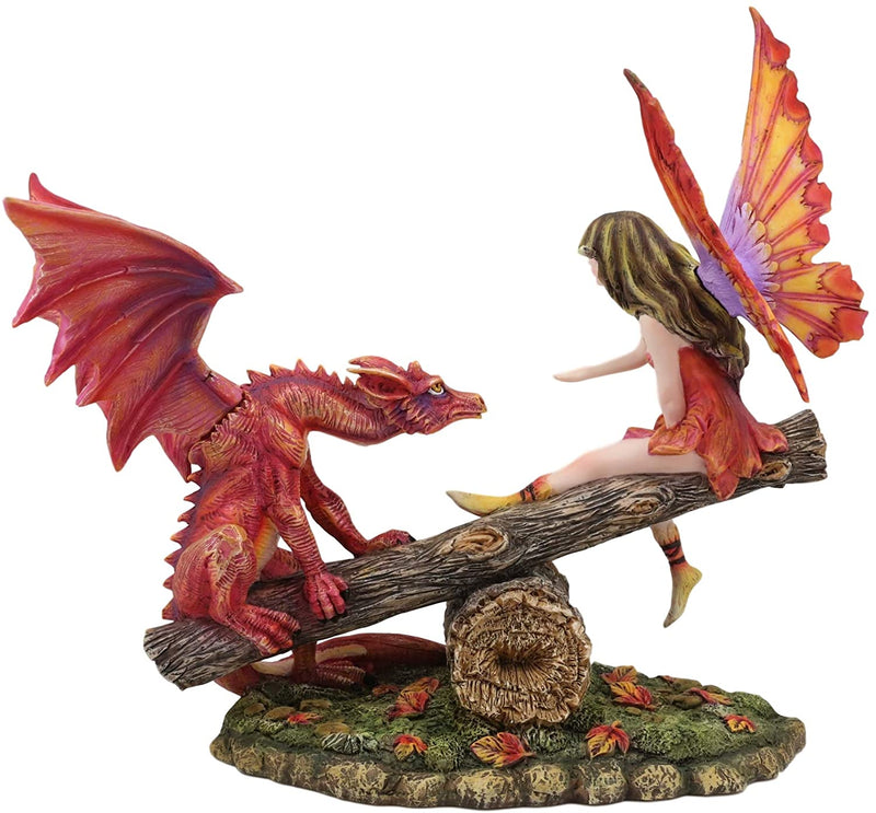 "Ebros Amy Brown Elf Fire Fairy with Red Dragon On Wood Logs Seesaw Statue 8.5"" H"