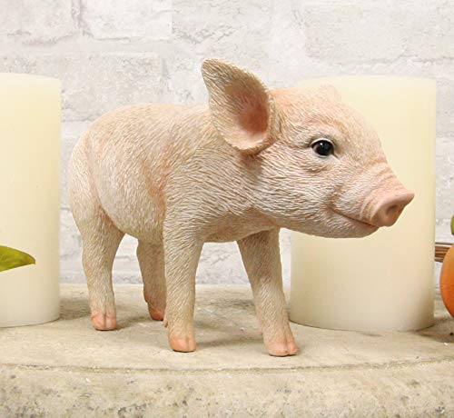 "Ebros Adorable Realistic Animal Farm Babe Piglet Pig Statue 8"" Long Rustic Country Piggy Pet Porcine Pigs Collectible Figurine"
