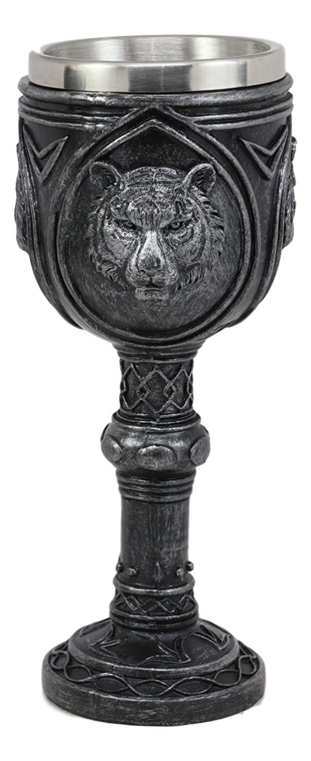 "Ebros Brazen Eye Of The Tiger Wine Goblet 7.5""H 5oz Sturdy Wine Chalice Drink Beverage Ceremonial Cup Resin With Stainless Steel Liner Animal Jungle Bengal Tigers Giant Cats Apex Predator"