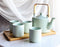 Matte Green Modern Ceramic 28oz Tea Pot With 4 Cups And Bamboo Serving Tray Set