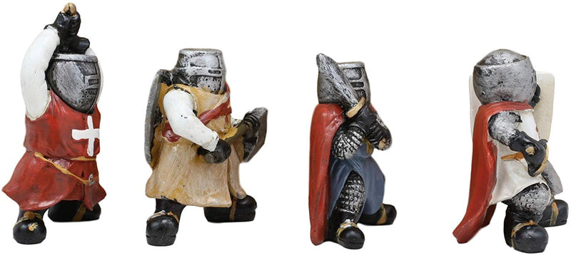 Ebros Gift Medieval Knights Crusaders with Swords Axe & Shield Figurine Set of 4