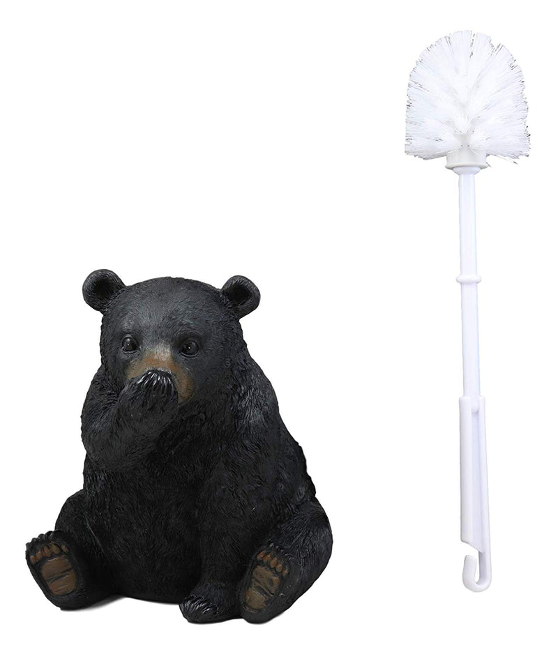 "Ebros 14.5"" Tall Whimsical Funny Forest Mountain Black Bear Covering Nose Toilet Brush Scrub and Base Holder Bathroom Gift 2 Piece Set Statue Rustic Cabin Lodge Bears Decor Accent Figurine - Ebros Gift"