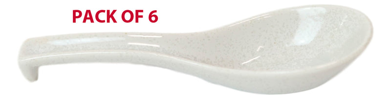 Made In Japan Ceramic Large Glossy Speckled White Spoons W/ Ladle Hook Set Of 6
