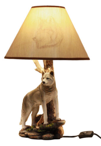 Denizen Of Twilight Lone Gray Wolf Table Lamp With Shade Decor Statue Set