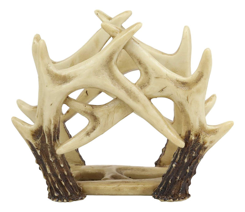 "Ebros Wildlife Rustic Buck Elk Deer Stag Entwined Antlers Kitchen Paper Napkin Holder Figurine 6.5"" Wide Rustic Cabin Lodge Country Dining Table Counter Top Decorative Statue"