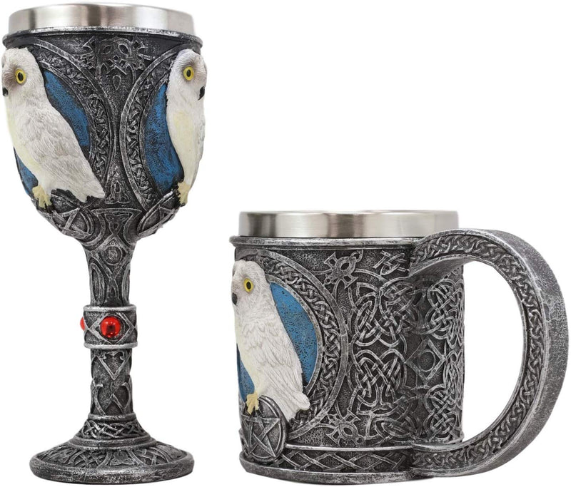 Ebros Dazed Snow White Owl With Celtic Tribal Tattoo Wine Goblet And Mug Set
