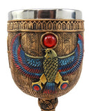 Ebros Gift Ancient Egyptian Horus Falcon Bird God Of The Sky 6oz Resin Wine Goblet Chalice With Stainless Steel Liner