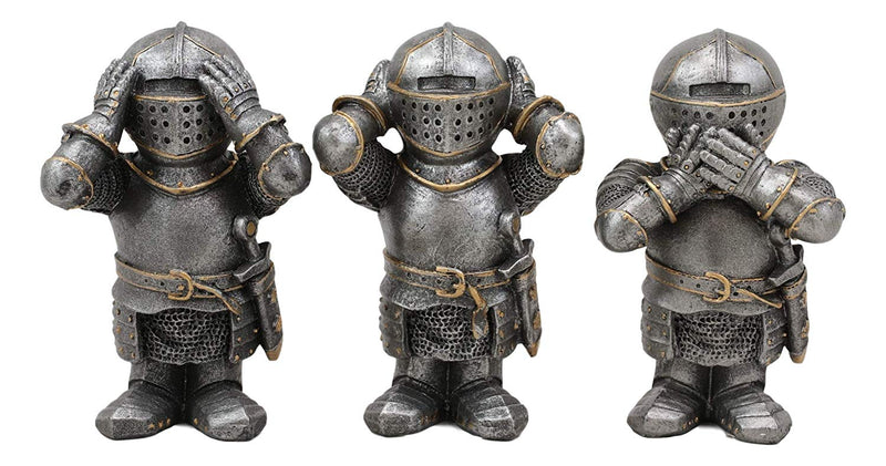 "Ebros Gift Set of 3 Renaissance Medieval See Hear Speak No Evil Royal Knights Figurine 4"" Tall Suit of Armor Dollhouse Miniature European Knights Sculpture Decor"